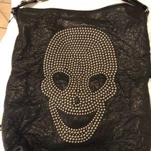 Thomas Wylde Skull Black distressed Large Handbag